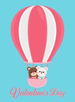 Bannière de la saint-valentin avec des ours mignons sur fond pastel.