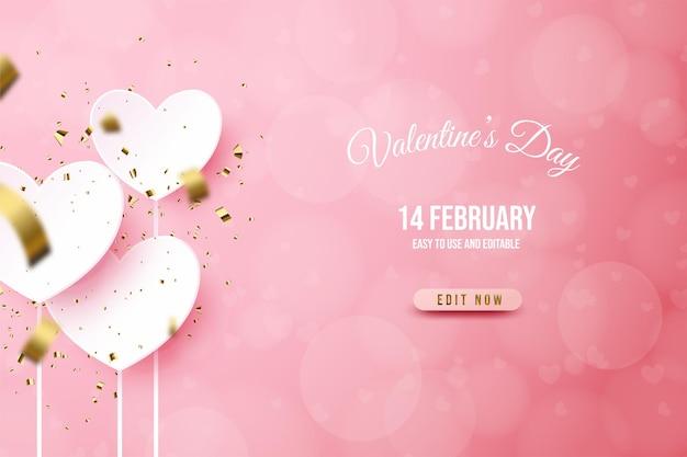 Bannière de la saint-valentin avec plaque d'amour blanche sur fond rose.