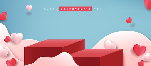 Bannière de la saint-valentin avec présentation du produit et ballons en forme de coeur.