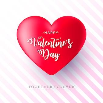 Bannière de saint-valentin réaliste avec un grand coeur rouge
