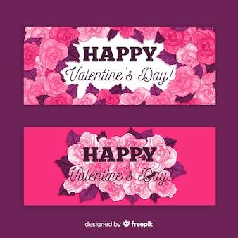 Bannière saint valentin roses dessinées à la main