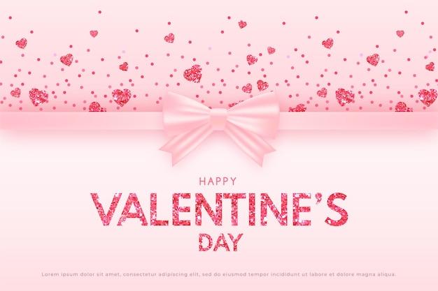 Bannière de la saint-valentin avec ruban rose et coeurs flottants scintillants, fond rose délicat