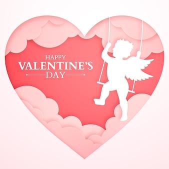 Bannière de la saint-valentin avec silhouette de cupidon et coeurs en papier, fond rose romantique