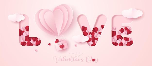 Bannière de la saint-valentin en style papier