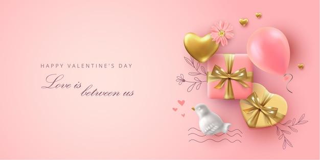 Bannière de la saint-valentin vue de dessus avec des oiseaux en porcelaine réalistes, des ballons et un cadeau