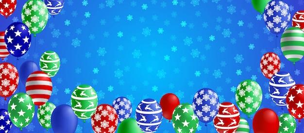 Bannière de saison hiver noël avec ballon coloré et flocon de neige sur fond bleu.