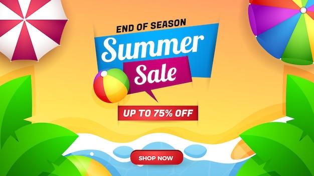 Bannière et saison des soldes d'été avec une belle illustration de plage découpée en papier