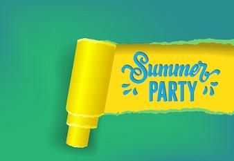 Bannière saisonnière de fête d'été dans les couleurs jaunes, vertes et bleues.