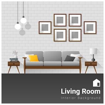 Bannière De Salon Moderne De Design D'intérieur Vecteur Premium