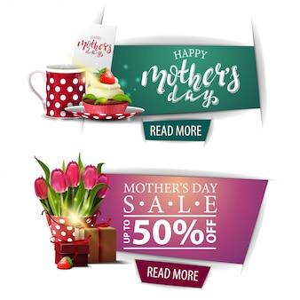 Bannière de salutation et remise pour la fête des mères avec un bouton