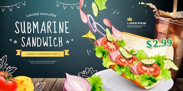 Bannière sandwich sous-marin avec des ingrédients frais volants sur la surface du tableau noir, illustration 3d