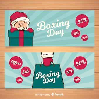 Bannière de santa boxing day dessinée à la main