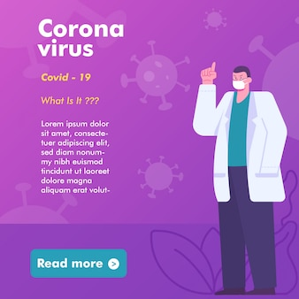 Bannière de santé médicale sur le virus corona. illustration d'un médecin avertit et donne des informations sur le virus. modèle de bannière de publication de médias sociaux instagram.