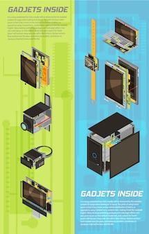 Bannière de schéma deux gadgets verticales isolées et colorées sertie de gadgets à l'intérieur des titres vector illustration