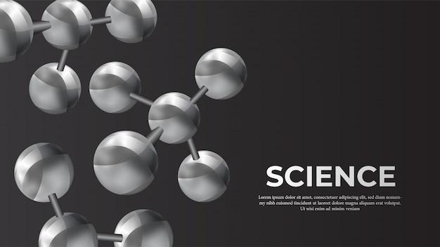 Bannière de science sphère molécule métal 3d
