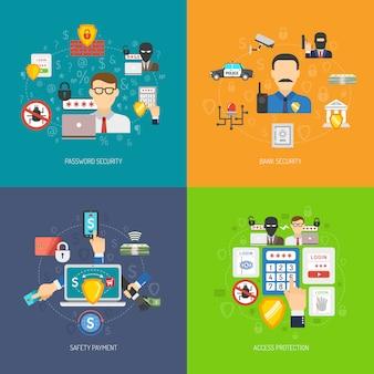 Bannière de sécurité bancaire 4 icônes plat