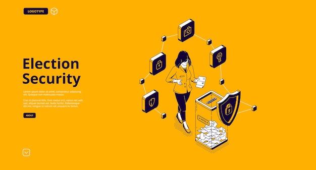 Bannière de sécurité électorale. système de protection du bureau de vote pour le vote démocratique de sécurité