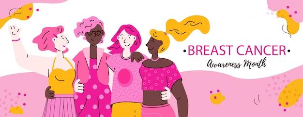 Bannière de sensibilisation au cancer du sein avec des personnages féminins