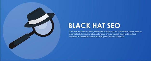 Bannière de seo chapeau noir et blanc. loupe et autres outils d'optimisation de moteur de recherche