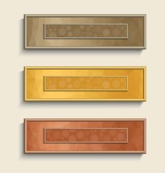 Bannière sertie d'effet bokeh dans les couleurs or, argent et bronze.
