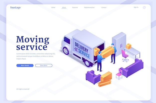 Bannière de service de déménagement avec des travailleurs déchargeant une camionnette avec des meubles et des boîtes page de destination vectorielle de livraison...