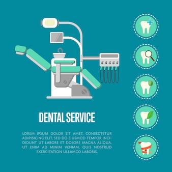 Bannière de service dentaire avec fauteuil dentaire