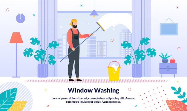 Bannière de service de lavage windows professionnel