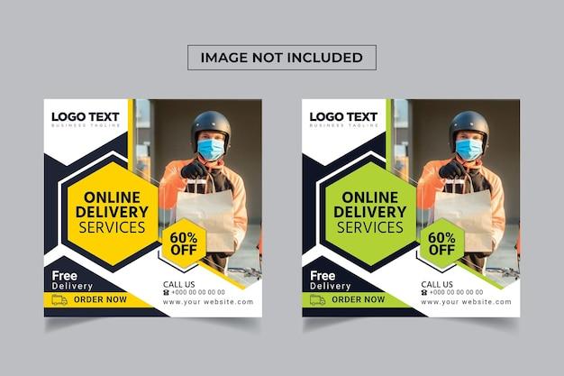 Bannière de service de livraison en ligne