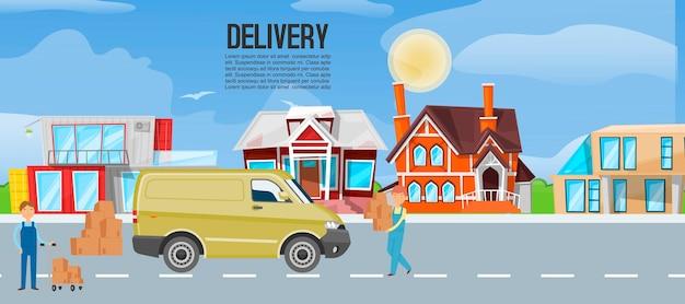 Bannière de service logistique de transport express de camion de transport de bande dessinée
