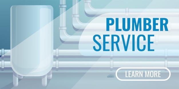 Bannière de service plombier, style cartoon