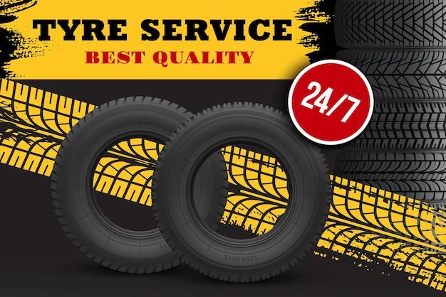 Bannière de service de réparation et de remplacement de pneus de voiture