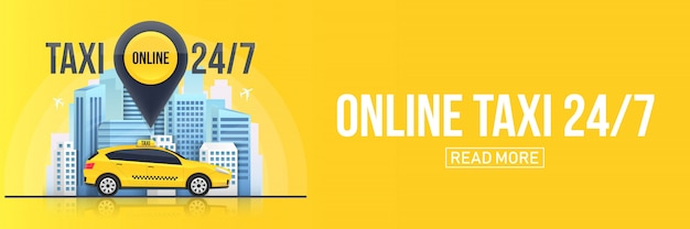 Bannière de service de taxi en ligne, gratte-ciel de villes urbaines