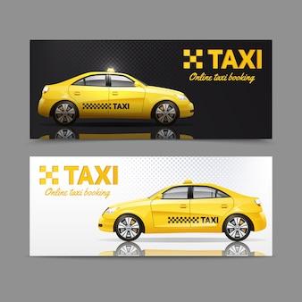 Bannière de service de taxi sertie de voitures jaunes avec reflet