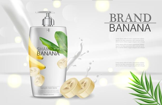 Bannière de shampooing à la banane