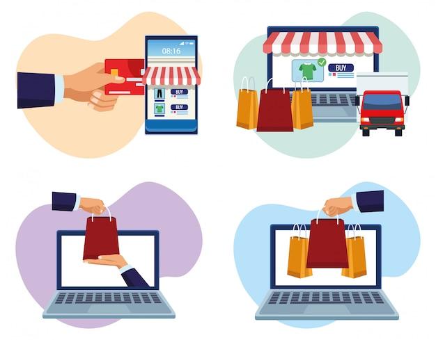 Bannière shopping en ligne avec des gadgets