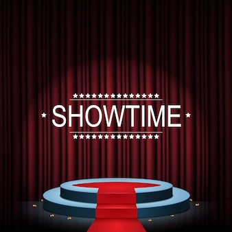 Bannière showtime avec podium et rideau éclairés par des projecteurs