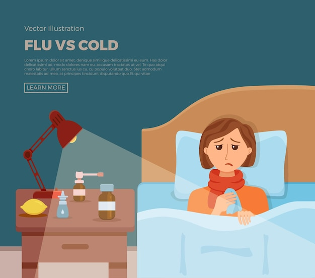Bannière de sick girl in bed avec les symptômes du rhume, de la grippe