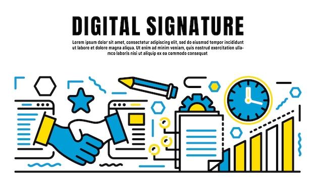 Bannière de signature numérique, style de contour
