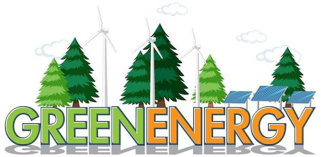 Une bannière de signe d'énergie verte