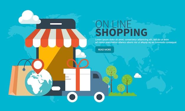 Bannière de site web d'achat et de livraison mobile