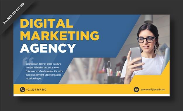 Bannière de site web d'agence de marketing numérique et modèle de médias sociaux