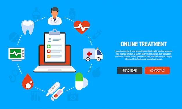 Bannière de site web de conception de ligne plate de services médicaux en ligne. illustration moderne pour la conception web, le marketing et le matériel d'impression.