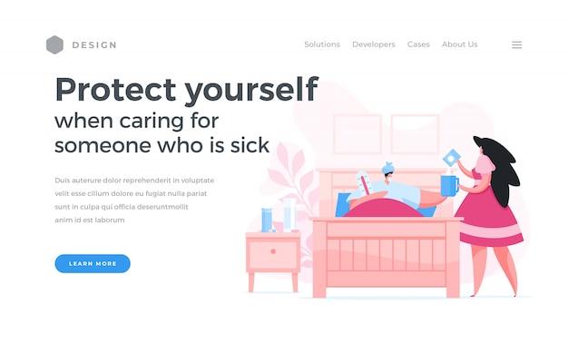 Bannière de site web demandant de prendre soin des patients malades avec auto-protection