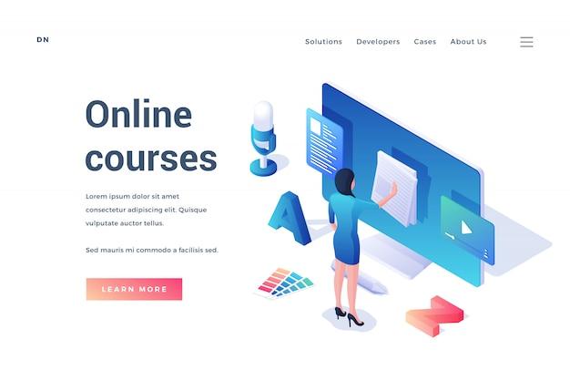 Bannière de site web avec offre de cours en ligne