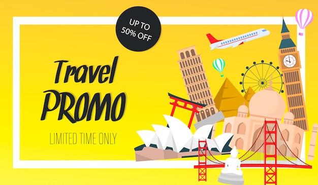 Bannière de site web promo voyage, modèle de vecteur de flyer