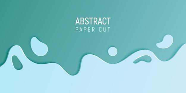 Bannière avec slime abstrait avec du papier bleu cyan couper les vagues