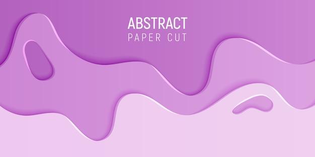 Bannière avec slime abstrait avec du papier rose couper les vagues