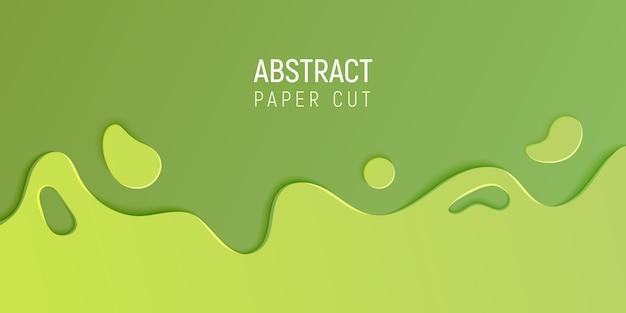 Bannière avec slime abstrait avec du papier vert couper les vagues