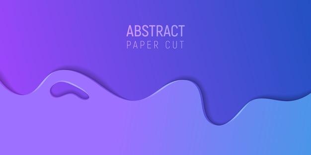 Bannière avec slime abstrait avec du papier violet et bleu, coupe les vagues. illustration vectorielle