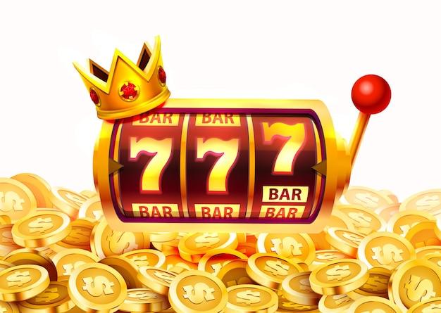 Bannière slots 777, jackpot en pièces d'or, couverture casino 3d, machines à sous et roulette avec cartes